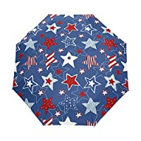 BENNIGIRY Stars And Stripes Seamless Pattern Custom Foldable Sun Rain Umbrella Wind Resistant Windproof Folding Travel Umbrella