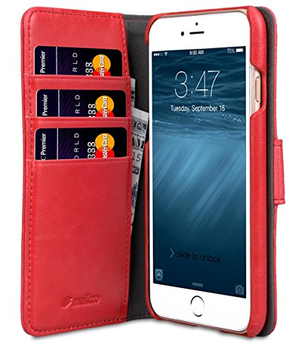 Apple Iphone 7 Melkco Jacka Type Premium Leather Case with Premium Leather Hand Crafted Good Protection,Premium Feel-Red LC Red PU