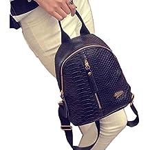mochilas mujer Sannysis mujeres Bolsos de cuero con Cremallera (001, negro)
