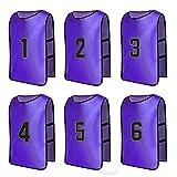 Senston Numerato Gilet di Formazione Scrimmaging Pratica Squadra Casacche Pinnies Sportivi Bavaglini (6-pacchi) 6 Colori