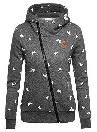 BAISHENGGT Damen Kurz Print Hoodie mit verschiedenen Mustern Kapuzenpullover Grau-Schmetterling Small