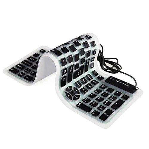 QWERTY tragbare Tastatur, YUMQUA flexibel Silikon-Tastatur mit 1.6M USB Kable 107 weiche Tasten wasserfeste Ersatztastatur für Computer Laptop Notebook PC Mac (auf der Reise/Dienstreise, im Freien, in der Nacht usw.)