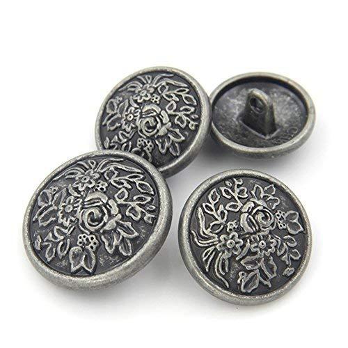 Geprägt Blazer (Lvcky Antik Silber Blume geprägt Dekorative Metallknöpfe für Overcoat Blazer Anzug 10 Stück)