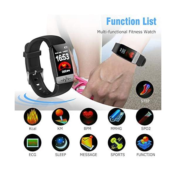obqo Reloj Inteligente Pulsera Actividad Fitness Tracker con Pulsómetro,Monitor de Sueño de Presión Arterial,Podómetro,Contadores de Calorías IP67 Pulsera Deporte para Mujeres Hombres Android iOS 2