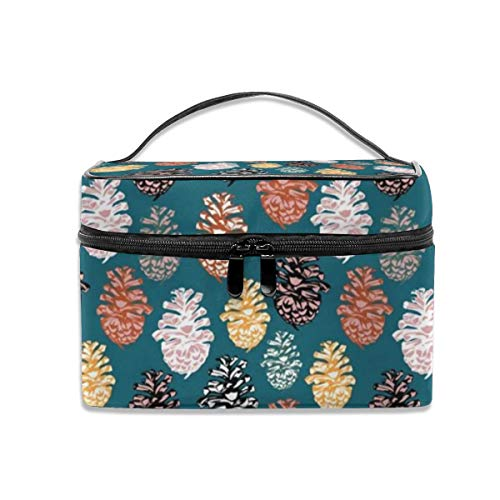 Portable Travel Toiletry Bag Organizer,Autumn Pine Cones Cosmetic Bags for Women Girl,Makeup Bag, Storage Bag Pine Cone Mirror