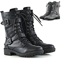 ESSEX GLAM Womens Mid Calf Lace Up Zip Ladies Biker Block Heel Army Punk Military Combat Boots