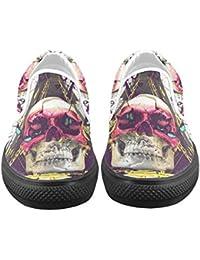 d-Story Custom Sneaker Calavera y Mariposa Mujeres Inusual Slip-On Zapatos de Lienzo