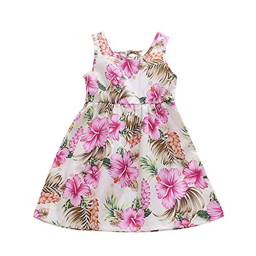 Baby scherzt Mädchen-Blumenblumen-Druck-Band-Kleid-beiläufige Kleid-Kleidung Ärmelloses Kinderkleid mit floraler Schleife und Blumendruck Princess Princess Skirt ()