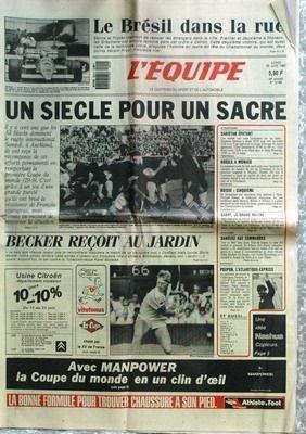 EQUIPE (L') [No 12789] du 22/06/1987 - LE BRESIL DANS LA RUE - RUGBY - BECKER - ATHLETISME - CARISTAN - FOOT - HODDLE A MONACO - ESCRIME - BOISSE - HAND - CYCLISME - SANDERS - BATEAUX - POUPON.