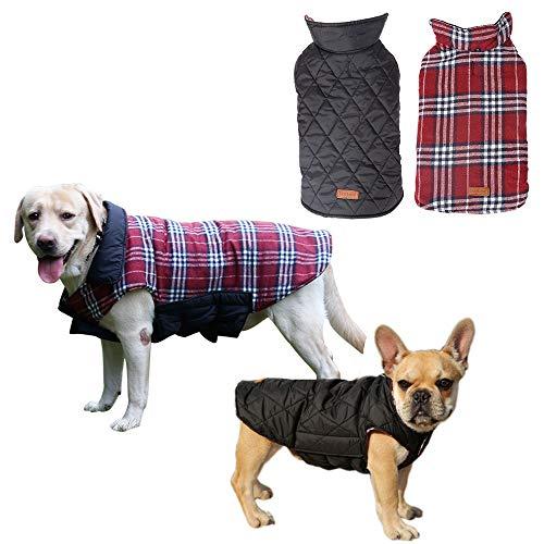 Petilleur Cappotto Cane Invernale Cappottino Inverno per Cani di Taglia Piccola Media e Grande, Doppia Faccia Indossare (M, Rosso)