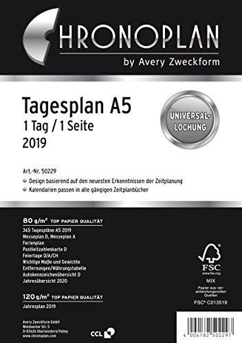 Avery Zweckform 50229 Calendario 2019 Dia Plan A5 Color Blanco