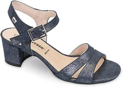Valleverde - Sandalo Blu con Cinturino e Mezzo Tacco