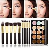 Corrector paleta maquillaje Set, Susenstone 15 colores de maquillaje paleta de contorno corrector con polvo 10 Fundación herramienta Pincel, negro