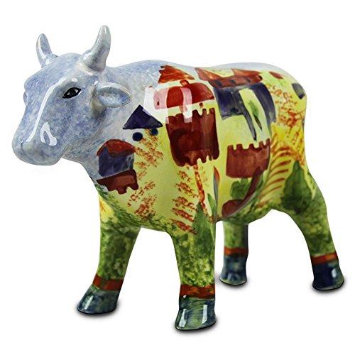 Preisvergleich Produktbild Dolomit Spardose Bunte Kuh Handbemalt Edles Dolomitrind Motivkuh Sparkuh sortiert 28 cm