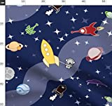 Rakete, Ufo, Weltraum, Stern, Chibi, Astronaut Stoffe -