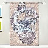 CPYang Voilage Voilage Voilage Ethnique Animal Elephant Floral Rideau de Fenêtre pour Salon Chambre Porte Cuisine 137 x 178 cm 1 Panneau, Tissu, Multicolore, 55 x 84 inch