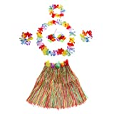 Anself Herbe Jupe Fleur Hula Lei Garland Nouvelle Main Costume Hawaïenne Dance de Déguisement Adults 6PCS