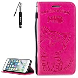 iPhone 6 Plus Hülle , iPhone 6S Plus Handy Hülle Leder Tasche Katze Rose rot Huphant Farbe Weich PU Leder Embossed Muster Schlank Katze Flip Schutzhülle Zubehör mit Weich Silikon Back Cover Wallet Case Tasche für iPhone 6 Plus / iPhone 6S Plus Handytasche im Bookstyle Stand Funktion Kartenfächer Magnet Tasche Flip Cover Wallet Case + 1x Schwarz Stift Stylus Pen --Rose rot