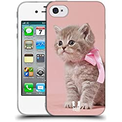 Head Case Designs Chaton avec Arc Rose Chats Coque en Gel Doux Compatible avec iPhone 4 / iPhone 4S