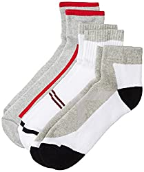 Peter England Mens Socks (Pack of 3) (PXT1945_Melange Grey and White_25/37cm)