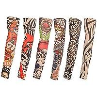 TAGVO Mangas falsas del tatuaje, 6pcs Mangas del brazo de nylon de la moda Calentadores del brazo de los deportes al aire libre Transpirable Manta suave del ...