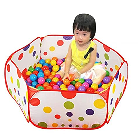 Ularma Pop up hexagone Polka Dot Kids Ball jouer tente transporter Tote struture + 50 balles