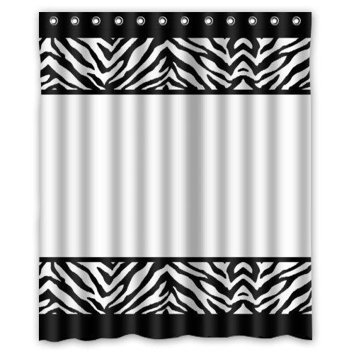 DAMEILIN 152,4cm (Breite) X 182,9cm (Höhe) schwarz und weiß Zebra Print & Streifen Linien Design Badezimmer Dusche Vorhang Dusche inklusiv Ringe, 100% Polyester-Beste Visuelle Genuss für sie (Vorhang-set Dusche Zebra-print)