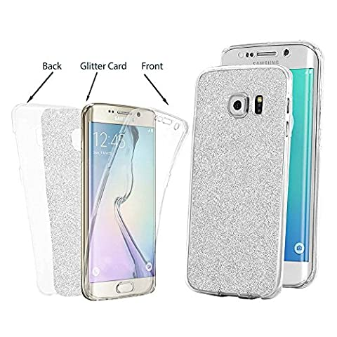 Samsung Galaxy S6 Coque, uiano® Sparkling Premium [Front + Glitter + Retour] 360 Full Protection Hybrid Glitter Bling TPU téléphone Coque Cover For Samsung Galaxy S6 (argent)