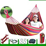 XHHWZB Easy Eagle Hängematten Anti-Rollover Travel Camping Leinwand Hängematte im Freien Rainbow Stripes Swing Senden Krawatte Seil + Tasche (78,74
