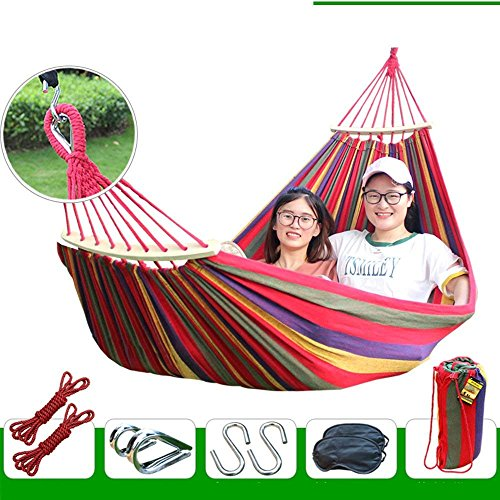 "XHHWZB Easy Eagle Amache Anti-ribaltamento Viaggio Camping Canvas Amaca all'aperto Arcobaleno Stripes Swing Invia Tie Rope + Bag (78.74""x39.37 Double Red Stripes) (Colore : Red)"