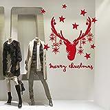 NT0041 Decoraciones de tiendas de Navidad, Pegatinas, Adhesivos - Reno con cintas colgantes - 90x110 cm
