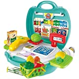 ND TOYS Supermarket Cash Register Playset Suitcase Mini Market Toys With Scanner And Calculator, Currency