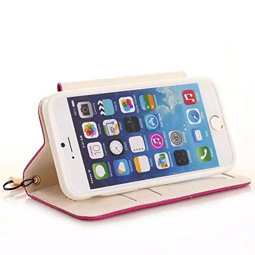 "inShang iPhone 6 iPhone 6S Coque 4.7"" (Both 2014 Sep and 2015 Sep Release) Housse de Protection Etui pour Apple iPhone 6 iPhone 6S 4.7 Inch, le style sac a main, Cuir PU de premiere qualite, + Qualite diamond rose red"