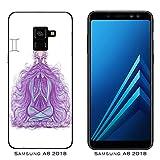 Hülle Galaxy A8 (2018) Case Samsung Galaxy A8 (2018) Sternzeichen Kleid Zwillinge/Cover Druck auch an den Seiten/Anti-Rutsch Anti-Rutsch Anti-Scratch Schock-resistenten Schutz Schutzulle Starre