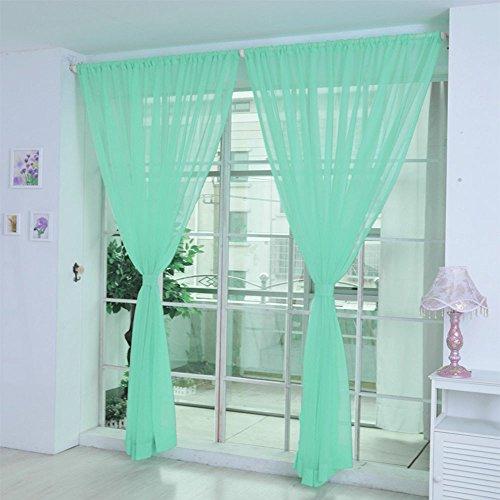 Hukz 1 Stück reine Farbe Tulle Tür Fenster Vorhang Drape Panel Sheer Schal Volants (G) (Rüschen-gardinen Lila)