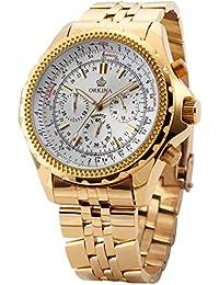 ORKINA ORK096 - Reloj analógico de cuarzo para hombre con correa de acero inoxidable chapado color dorado (cronómetro)