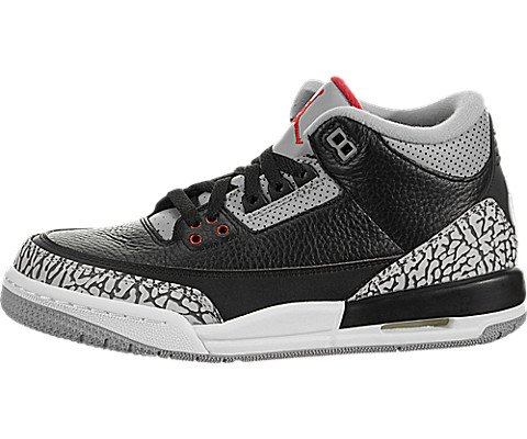 Nike Herren Air Jordan 3 Retro Black Cement Schuhe in Grau und Schwarz Leder 854261-001 - Air Jordan 3 Retro