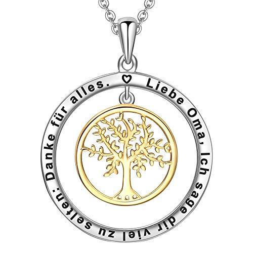 LOVORDS Damen Halskette aus 925 Sterling Silber Lebensbaum Anhänger mit Gravur Geschenk für Oma