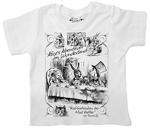Dirty Fingers, Alice's Abenteuer im Wunderland Kaffeetrinken bei Mad Hatter T-Shirt 6-12m Weiß