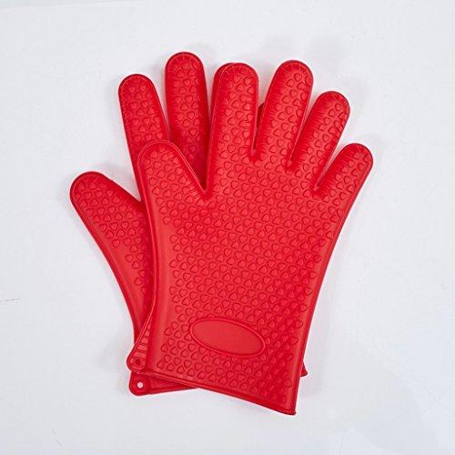 Doppel verdicken Hitzebeständige rutschfeste Silikon-Handschuhe Ofen Handschuhe Mikrowelle Handschuhe ( farbe : Rot ) (Doppel Rot Ofen-handschuh)