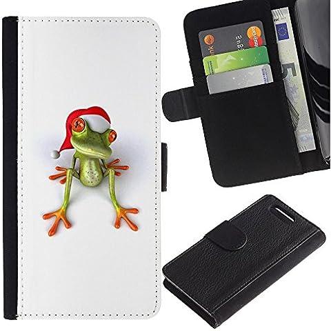 For Sony Xperia Z1 Compact / Z1 Mini / D5503,S-type® White Christmas Holidays Happy Gift - Disegno di cuoio di stile del raccoglitore della Case di telefono della pelle custodia protettiva - Happy Holidays Disegno