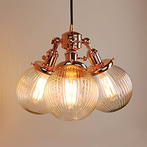 Pathson Industrial Modern Vintage Loft Bar 3 Lights Pendant Ceiling Lights Multi-lights Island Dining Room Bedroom Hanging Bronze Light Fittings Chandelier E27 with Ribbed Clear Glass Globe Lampshade (Copper)