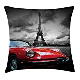 Red and Black Throw Pillow Cushion Cover, European Honeymoon Romantic City Paris Eiffel Tower Italian Car, Decorative Square Accent Pillow Case, 18 X 18 Inches, Charcoal Grey and White