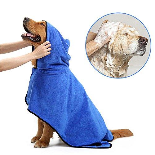 HanDingSM Haustier-Bademantel, Hunde-Bademantel, verstellbar, Mikrofaser, schnelltrocknend (L)