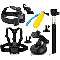 9 en1 Deportes Camara Accesorios - TOOGOO(R)9 en1 Accesorios Set Kit Telescopic Monopod+Chest Strap For GoPro HD Hero 3 3+ 4 and ANART SPC-01(W8), SPC-04(A8), SPC-09(W9) Sports Camera