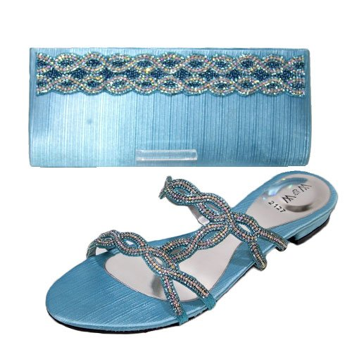 W & W femmes Mesdames cristal Diamante chaussures et sac assorti Taille (Roxi & Maxi) Turquoise