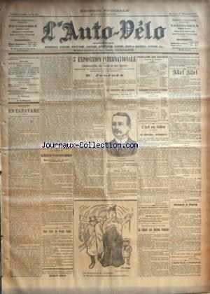 AUTO VELO (L') [No 794] du 17/12/1902 - ALPINISME - EN CARAVANE PAR A. DE MONTERGON - AERONAUTIQUE - UN MATCH DE VITESSE ENTRE AERONATS - AEROPHILE - POUR ALLER AU GRAND PALAIS - 5E EXPOSITION INTERNATIONALE DE L'AUTOMOBILE, DU CYCLE ET DES SPORTS - 8E JOURNEE - LE CONGRES DE L'ALCOOL - PROGRAMME DES CONCERTS - PROGRAMME DU CONCERT DE DEMAIN - L'ART AU SALON - LA VERITABLE AUTOMOBILE PAR ROBERT SOUZA - LES DUELS FRANCO-ITALIENS - LE DEPART DES MAITRES FRANCAIS PAR RENE LACROIX - ALL par Collectif