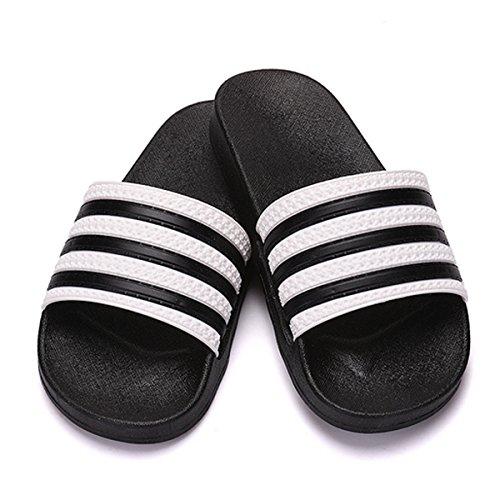 AiSi Damen/Herren Unisex Erwachsene Dusch & Badeschuhe Badeschlappen Badelatschen Strandschuhe Hausschuhe Pantoletten Badepantoletten schwarz weiß Größe 36-45 Schwarz Weiß