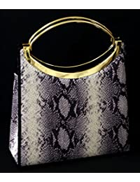 Black Snake-Skin Print Fashion Hand Bag Clutch Purse With Gold Handle And Magnetic Snap Closure PS300