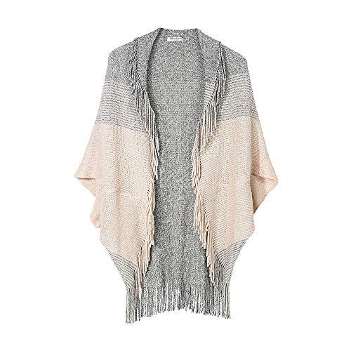 Amphia - Damen Umhang Mantel Schal,Winter Übergroße Color Block Schal Wrap vorne offen Poncho Cape (Dixon Poncho Daryl)